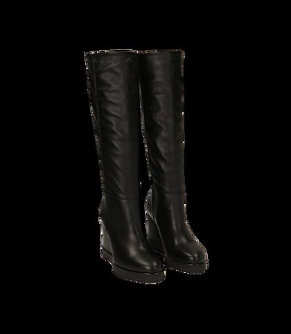Stivali neri in pelle di vitello, zeppa 9,50 cm , 1602T0056VINERO035, 002