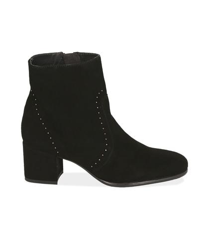 Ankle boots neri in camoscio , Scarpe, 1277T2103CMNERO035, 001