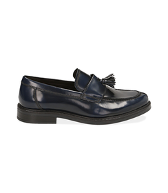 Mocassini con nappina blu in pelle abrasivata, Scarpe, 1477T0617APBLUE040, 001 preview