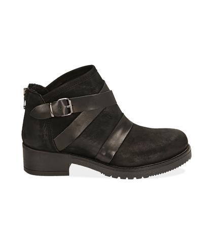 Biker boots neri in nabuk, Scarpe, 1256T0011NBNERO035, 001
