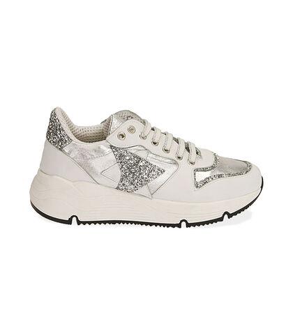 Sneakers bianche in pelle, zeppa 4 cm, Valerio 1966, 18L6T4002PEBIAN035, 001