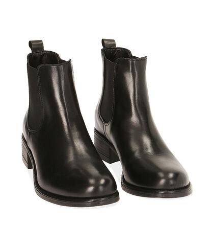 Chelsea boots neri in pelle, tacco 4 cm , Valerio 1966, 18A5T0908PENERO035, 002