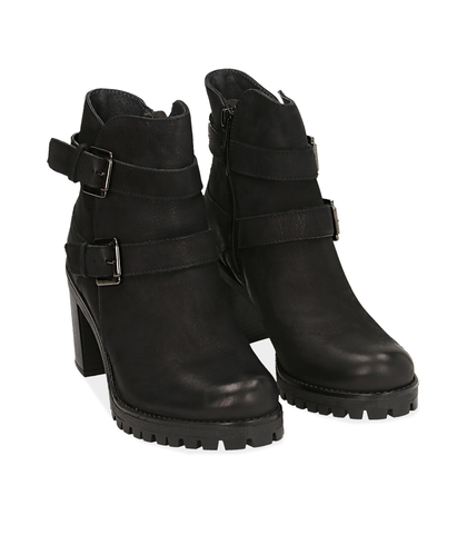 Ankle boots con fibbie neri in nabuk , Scarpe, 1277T3806NBNERO035, 002