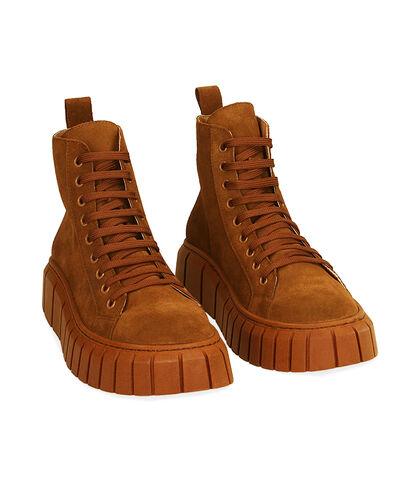 Sneakers cognac in camoscio, tacco 4 cm  , Valerio 1966, 18A5T4002CMCOGN035, 002