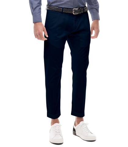 Pantaloni blu in cotone raso con una pince, Abbigliamento, 13T2T6101TSBLUE44, 001