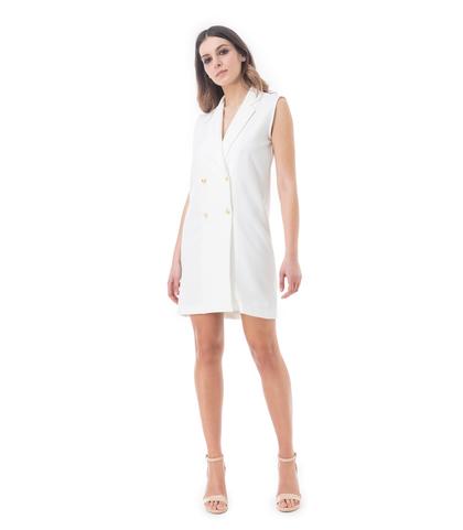 Abito corto bianco doppiopetto, Abbigliamento, 13E2T1300TSBIANM, 001