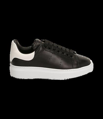 Sneakers nere in pelle, Valerio 1966, 1698T7603PENERO039, 001