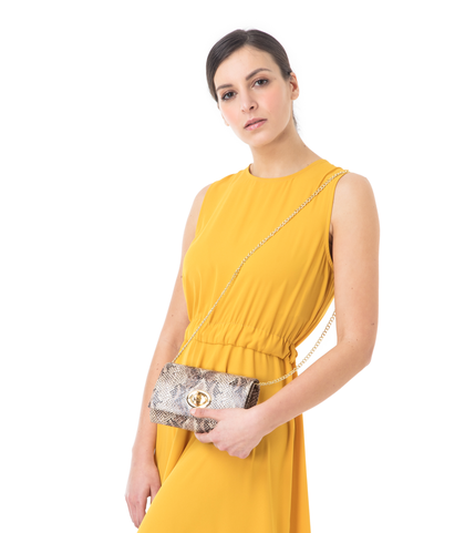 Borsa piccola beige in eco-pelle, effetto snake skin, Borse, 1366T6721PTBEIGUNI, 002