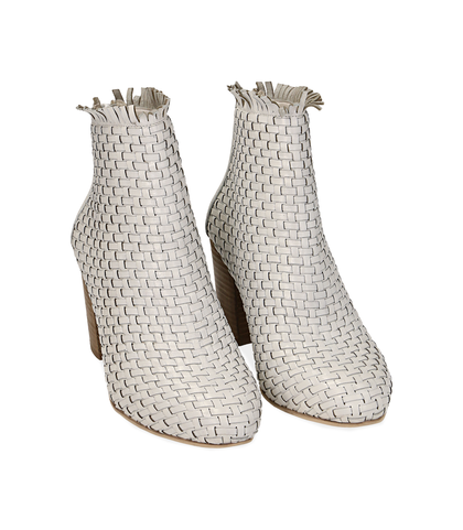 Ankle boots bianchi in pelle intrecciata, tacco 7,50 cm , Valerio 1966, 15C5T5018PIBIAN035, 002