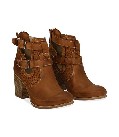 Ankle boots cuoio in nabuk con cinturini, tacco 7 cm, Valerio 1966, 1156T1601NBCUOI036, 002