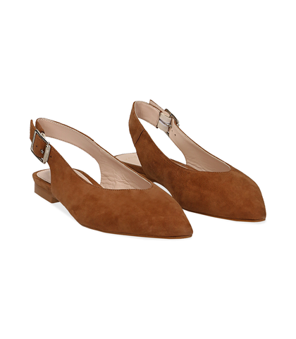 Slingback flat cuoio in camoscio, SUMMER PRICE, 13D6T2210CMCUOI036, 002
