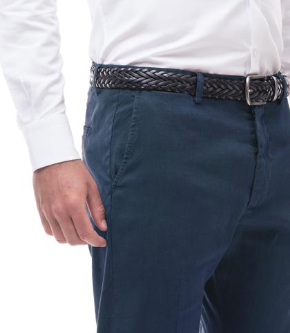 Pantaloni blu in lino e cotone, Abbigliamento, 13T2T6300TSBLUE44, 002