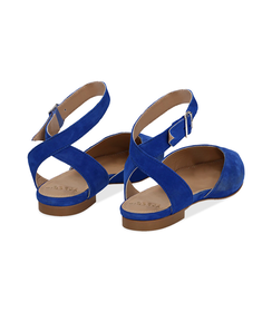 Slingback flat blu cobalto in camoscio, SUMMER PRICE, 13D6T2205CMBLCO036, 004 preview