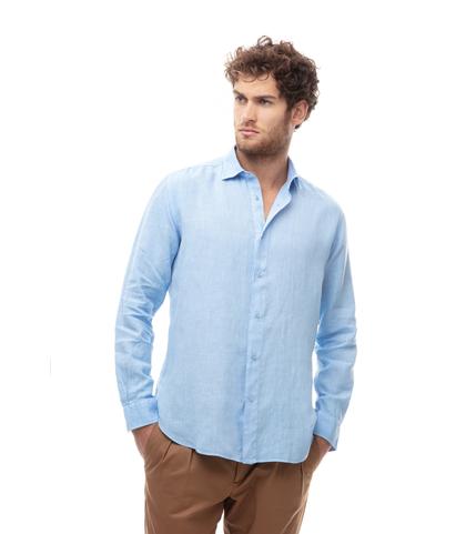 Camicia celeste in lino, Abbigliamento, 13H9T8211TSCELE39, 001