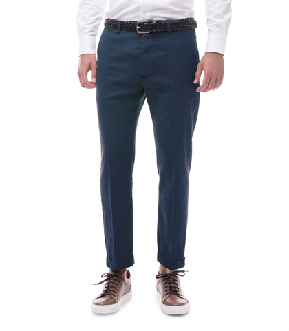 Pantaloni blu in lino e cotone, Abbigliamento, 13T2T6300TSBLUE44, 001