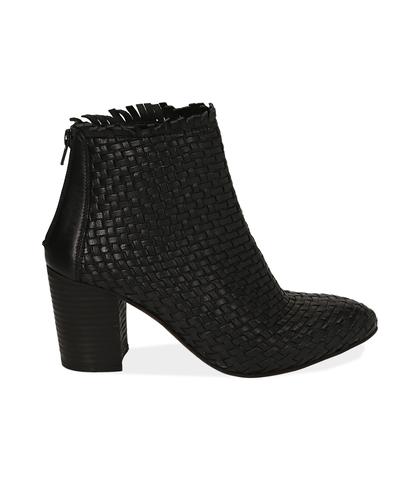 Ankle boots neri in pelle intrecciata, tacco 7,50 cm , Valerio 1966, 15C5T5018PINERO035, 001