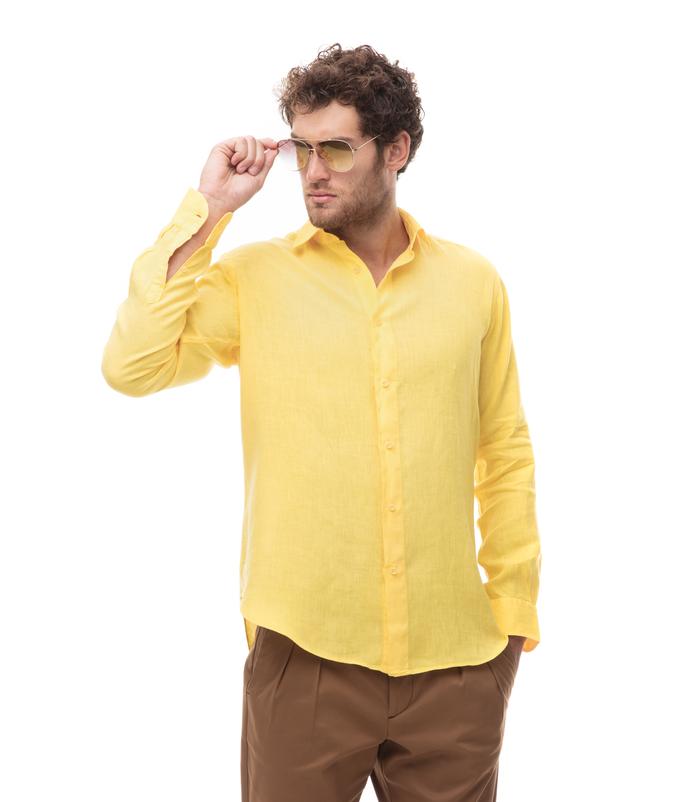 salvare db373 3331b Camicia gialla in lino