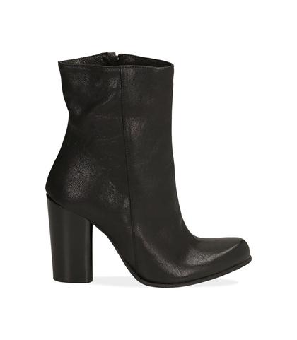 Ankle boots neri in pelle, tacco 9,50 cm , Valerio 1966, 1472T7171PENERO035, 001