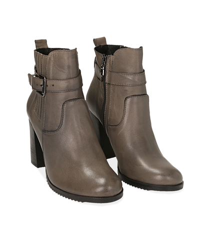 Ankle boots taupe in pelle , Scarpe, 1087T0001PETAUP035, 002