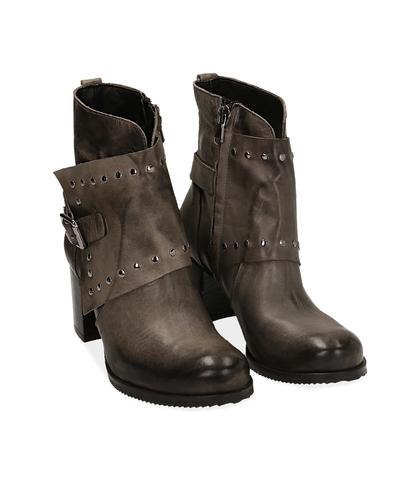 Ankle boots con borchie grigi in pelle, Valerio 1966, 1007T5025PEGRIG035, 002
