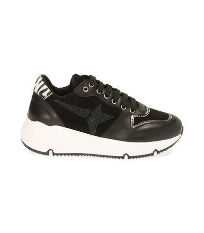 Sneakers nere in pelle, zeppa 4 cm, Valerio 1966, 18L6T4001PENERO035, 001