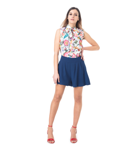 Shorts blu effetto gonna, SALDI, 11G7T7639TSBLUE40, 001