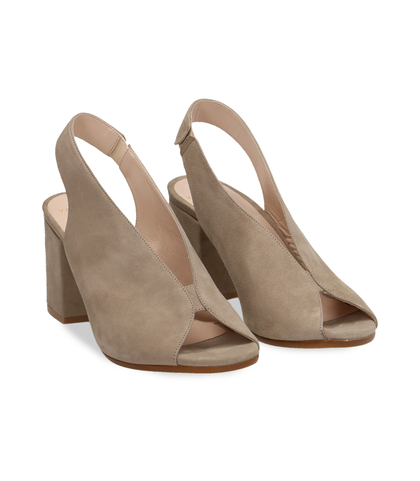 Slingback open-toe taupe in vero camoscio, Valerio 1966, 13D6T2014CMTAUP035, 002