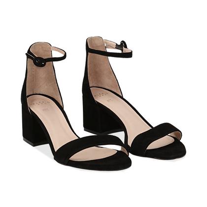 Sandali neri in camoscio, tacco chunky 5,50 cm, DONNA, 13D6T0807CMNERO036, 002
