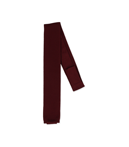 Cravatta bordeaux in cotone con fondo dritto, Accessori, 11I9T0024TSBORDUNI, 001