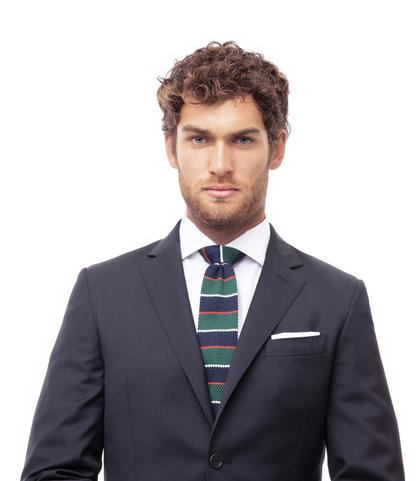 Cravatta blu rigata in cotone con fondo dritto, Accessori, 11I9T0021TSBLUEUNI, 002
