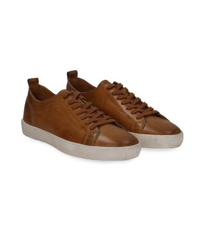 Sneakers cuoio in pelle con suola bianca, UOMO, 1377T8081PECUOI040, 002