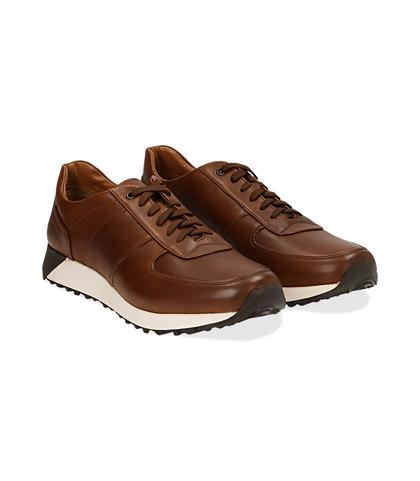 Sneakers marroni in pelle con punta affusolata, Scarpe, 1195T5688PEMARR040, 002