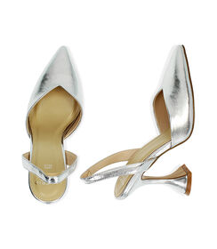 Slingback argento laminato, tacco 10 cm , Valerio 1966, 1721T0572LMARGE036, 003 preview
