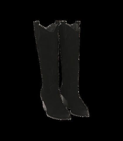 Camperos neri in camoscio, tacco 5,50 cm , DONNA, 16A5T0902CMNERO035, 002