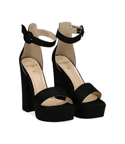 Sandali nero in raso con plateau, tacco 13 cm, Scarpe, 13A4T7532RSNERO036, 002