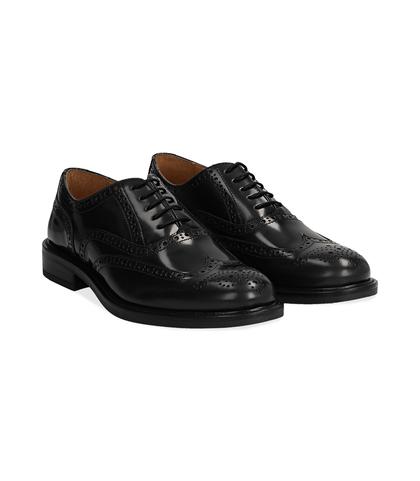 Oxford nere in pelle, lavorazione Duilio, Scarpe, 1398T5333APNERO040, 002