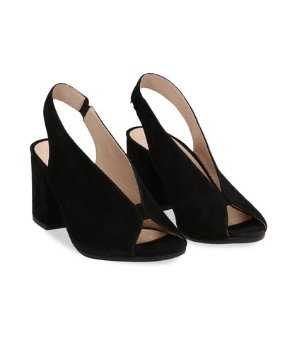Slingback open-toe nere in vero camoscio, Scarpe, 13D6T2014CMNERO036, 002