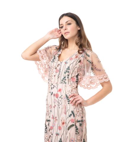 Abito lungo rosa con ricami e pizzo , Abbigliamento, 11F8T0646TSROSA40, 002