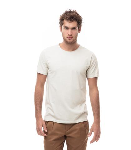 T-SHIRT GIROCOLLO BEIGE, EFFETTO STONEWASHED., Abbigliamento, 13T6T3915TSBEIGL, 001