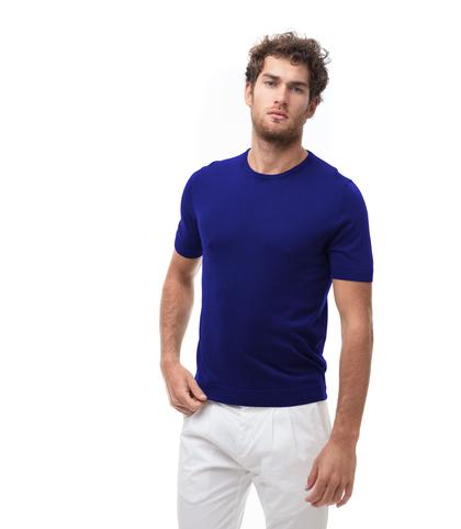 Maglioncino girocollo azzurro in cotone, Abbigliamento, 13T4T2353TSAZZU48, 001
