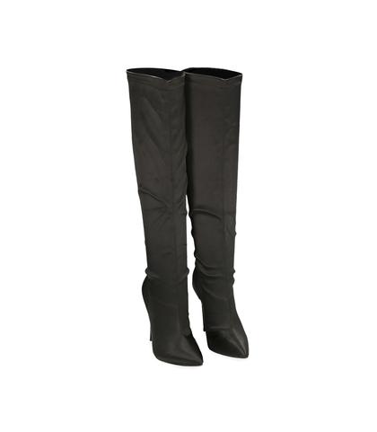 Stivali in raso neri, Scarpe, 1221T0513RSNERO035, 002