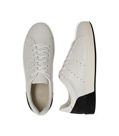 Sneakers bianche in pelle con tallone nero in camoscio, Scarpe, 1198T5841PEBINE040, 003 preview