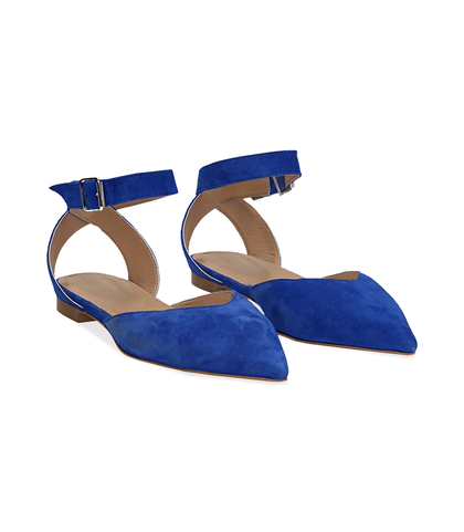 Slingback flat blu cobalto in camoscio, SUMMER PRICE, 13D6T2205CMBLCO036, 002