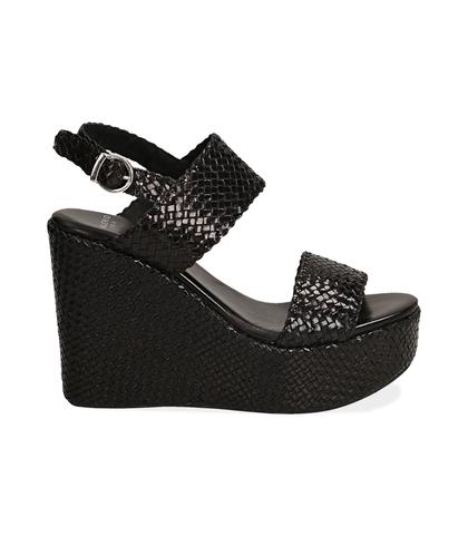Sandalo con zeppa nero in pelle intrecciata, Valerio 1966, 1362T0010PINERO, 001