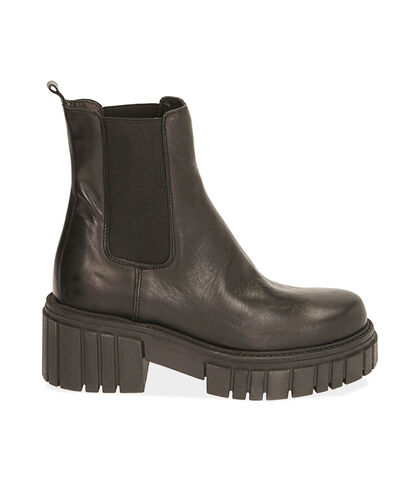 Chelsea boots neri in pelle, tacco 6 cm , Valerio 1966, 1856T9302PENERO035, 001