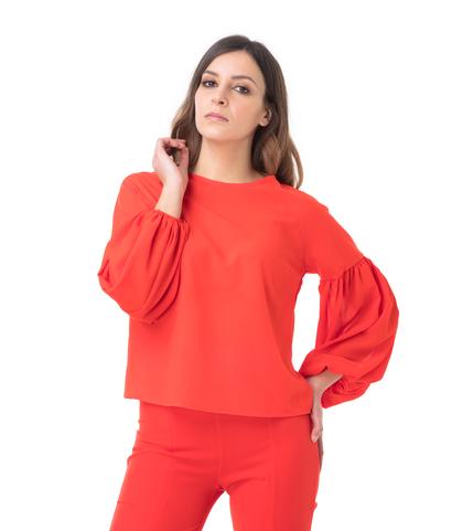 Blusa rossa con maniche a sbuffo, Valerio 1966, 11G7T8748TSROSSL, 002
