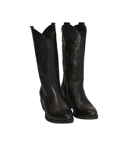 Camperos neri in pelle, tacco 5 cm , Valerio 1966, 1577T2902PENERO035, 002