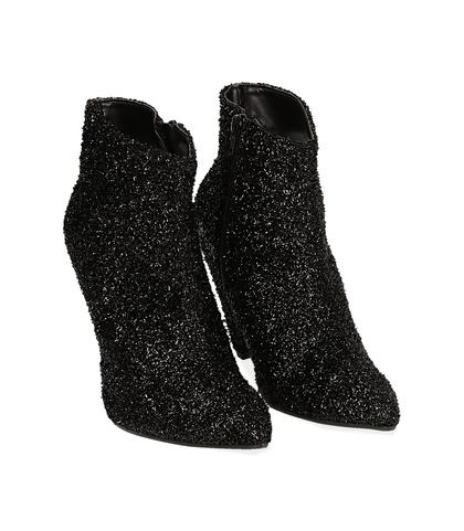 Ankle boots neri glitter, Valerio 1966, 12A4T3692GLNERO035, 002