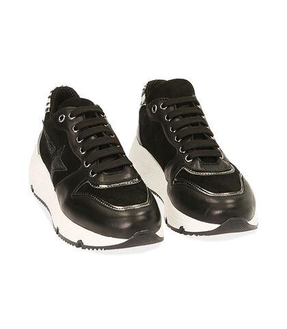 Sneakers nere in pelle, zeppa 4 cm, Valerio 1966, 18L6T4001PENERO035, 002