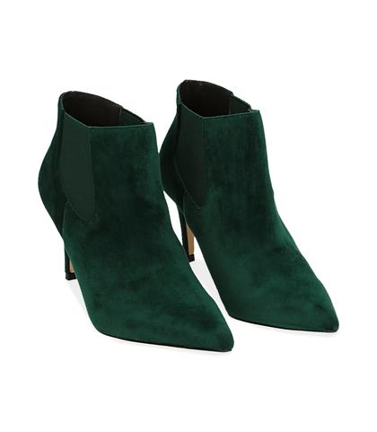 Ankle boots verdi in velluto , Scarpe, 1084T3175VLVERD035, 002